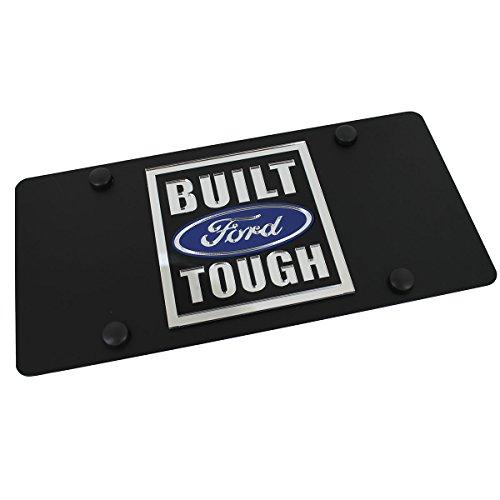 Ford Built Ford Tough License Plate on Black (Built Ford Tough Logo)