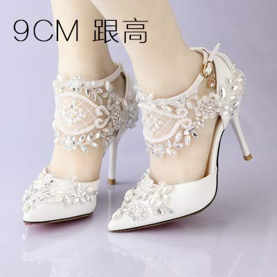 Perle Tacchi Diamante GTVERNH 9Cm Pointcuts donna Spillo Sposa Scarpe da Scarpe Da Scarpe Pizzi Thirty nine 36 A Sandali Estate In Super Matrimonio 0rq0Pngz
