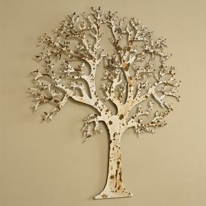 Ivory Metal Tree Outdoor Wall Art