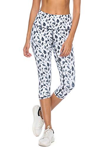 Mint Lilac Women's High Waist Printed Yoga Pants Tummy Control Workout Capri Leggings Medium