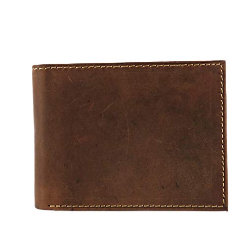 Distressed Leather Fold Bi (CTM Men's Hunter Leather Distressed RFID Bifold Wallet with Interior Zipper)