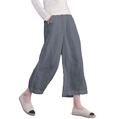 del di di tela donne; casuali di lino Retro estate vita elastici cotone di larghi Le pantaloni Grigio s pantaloni qX878w0