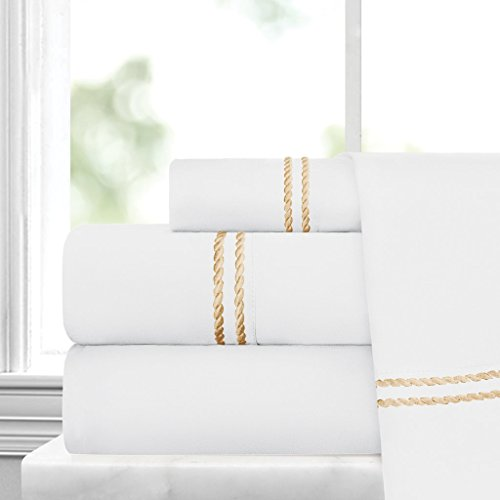 Italian Luxury Embroidered 4pc Bed Sheet Set - Ultra Soft Mi