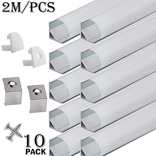 Profile End - StarlandLed 10-Pack 6.6FT/2 Meter LED Aluminum Channel V-Shape, LED Profile with End Caps and Mounting Clips for LED Strip Light Mounting