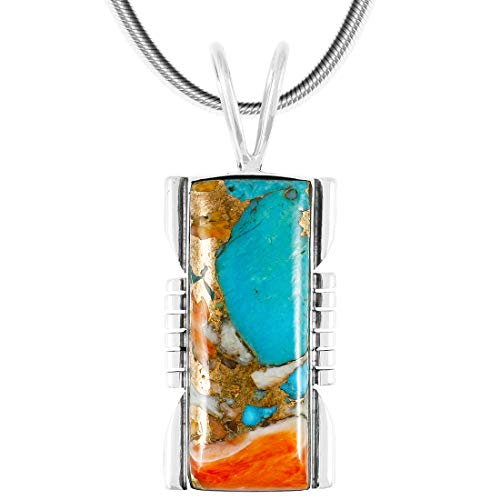 Spiny Turquoise Pendant Necklace in Sterling Silver 925 (Select Style) (Rectangle) ()