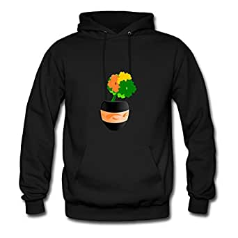 Personalized Casual Flowers Fashionalble Sweatshirts In Black Women Cotton X-large