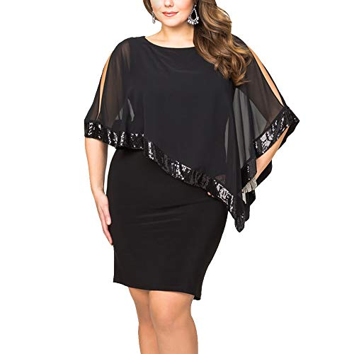 Alaster Queen Sequined Overlay Party Dress Chiffon Poncho Slit Sleeve Pencil Cocktail Mini Dress (Black,Plus-3XLarge)
