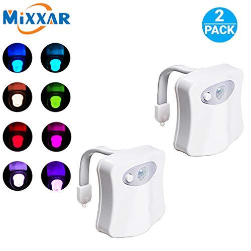 Toilet Night Light [2Pack] 8 Color Motion Sensor LED Toilet Bowl Light  Internal Memory, Light Detection, Stocking Stuffer, White