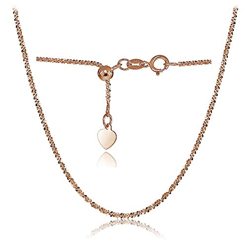 Bria Lou 14k Rose Gold 1.3mm Italian Rock Rope Adjustable Chain Necklace, 14-20 Inches by Bria Lou
