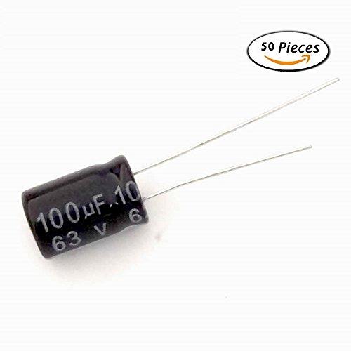 McIgIcM 50pcs Aluminum Electrolytic Capacitor 100uF 63V 8mm X 12mm Electrolytic Capacitor (Aluminum Capacitor)