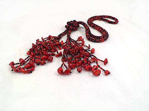 Beads crochet rope, black red necklace lariat with coral beads