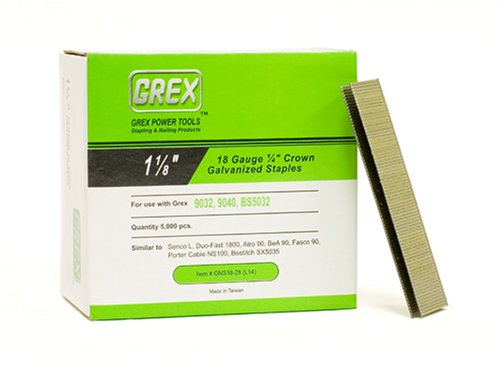 GREX GNS18-28 18 Gauge 1/4-Inch Crown 1-1/8-Inch Length Galvanized & Coated Staples (5,000 per box)