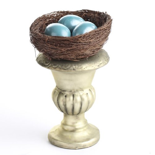 Whimsical Additions 4 Beautiful Hand Crafted Glass Urns with Decorative Vine Nest and 3 Azure Blue Hand Blown Glass Robins' Eggs.