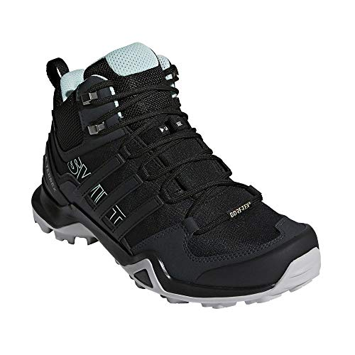 adidas outdoor Terrex Swift R2 Mid GTX Womens Hiking Boots, Black/Black/Ash Green, 7.5