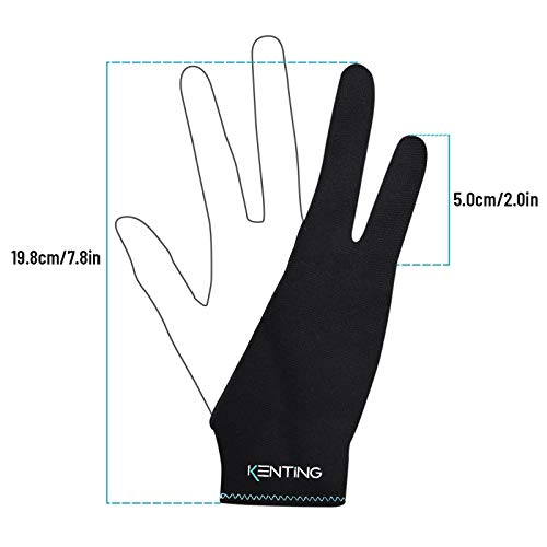 KENTING Antifouling Two-Finger Glove Free Size for Drawing Graphics Tablet LED Light Box Tracing Pad iPad and Artist Art Creation Good for Right Hand Left Hand 1PC