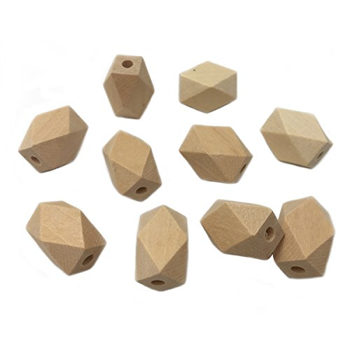 Wendysun 15mm22mm 100Pcs Natural Wood Accessories For Bracelet Necklace Wood Pendant Unfinished Polyhedron Hexagon Wooden Beads DIY Toy Accessories Jewelry Supply&Wood Crafts -