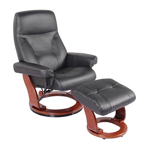 NewRidge Home Goods S7440-001 NewRidge Home Leather Swivel Recliner Chair & Ottoman, The Milano, Natural, Natural