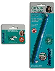 Sulcabrush Flosser with 2 Replacement Tips for Oral Hygiene Flossing Gum Health. Remove Plaque. Made in Canada