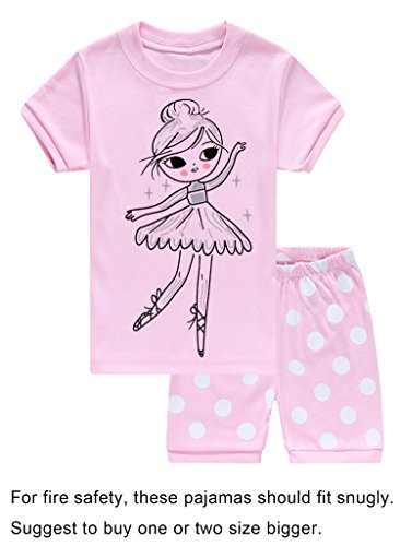 Short Girls Pajamas - Choco Moon Little Girls Snug-Fit Pajamas Short Sets 100% Cotton Pink Pjs Clothes Kid 7