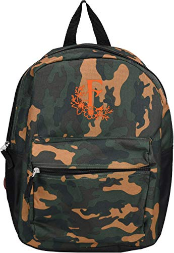 Monogrammed Me Children's Backpack, Green Camo, with Flower Monogram E -