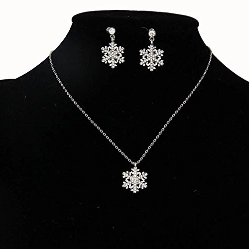 Crystal jewelerys set girls fashion austrian rhinestone wedding Christmas gift party Snowflakes children earrings Necklaces (Diy Hippy Costume)