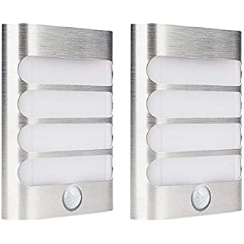2-Pack Leadleds Luxury Aluminum Stick Anywhere Bright Motion Sensor LED Wall Sconce Night Light Battery Operated, Auto On/Off for Hallway, Closet, Pathway, ...