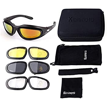 de0919bbad kemimoto Non-Polarized Riding glasses Motorcycle Goggles Sport Sunglasses  With 4 Lens Kits