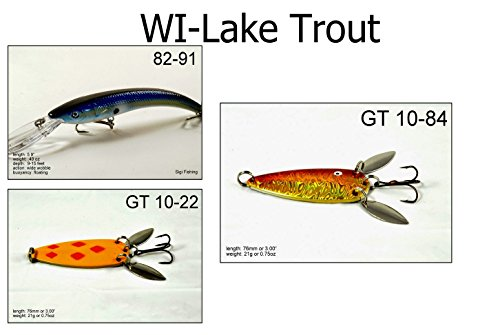 Akuna LT3A Lake Trout Fishing Lure for USA 50 States (Pack of 3), Wisconsin