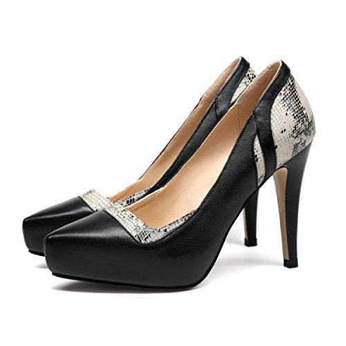 Plate-forme En Cuir De Femmes Chaussures à Talons Hauts Assortis Shallow Printemps Stiletto Chaussures Habillées Pompes Pour Formel De Mariage Patry Black BFcD0