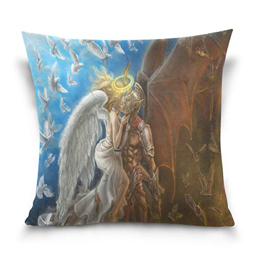 (ANJISY Throw Pillow Case Square 16 x 16 Inch Angel and Devil Fantasy HD Wallpaper Cushion Cover for Sofa/Bedroom/Car)