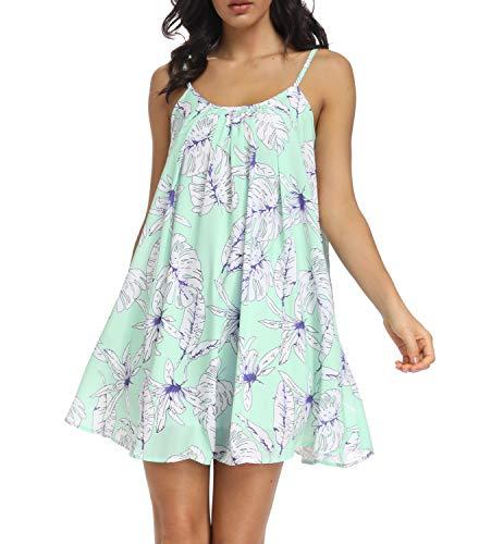 (Mingriya Womens Sleeveless Summer Silk Dress Casual Chiffon Sundress Mini Dresses (Green Floral,)