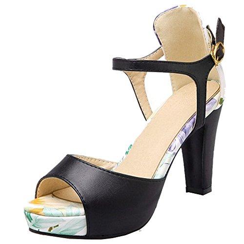 TAOFFEN Mujer Peep Toe Sandalias Clasico Tacon Ancho Tacon Alto Zapatos De Hebilla Negro