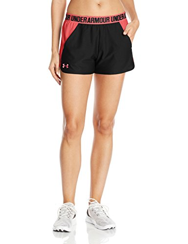 Under Armour Women's Play Up 2.0 Shorts, Black/Coral Cove, - Pill 013