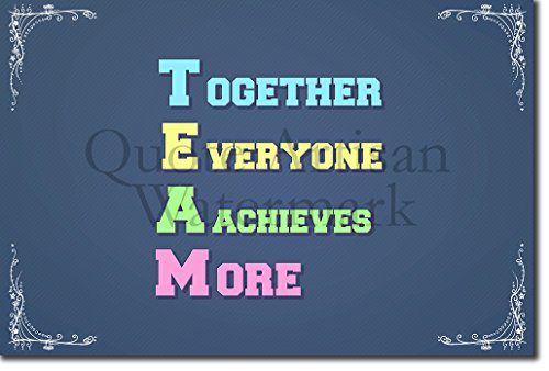 TEAM (Together Everyone Achieves More) - Motivational Quote Poster - Original Photo Print Art -Size - Unique Inspirational Gift Learning New Classroom Building School Sign - Size: 12 x 8 - Team Sign