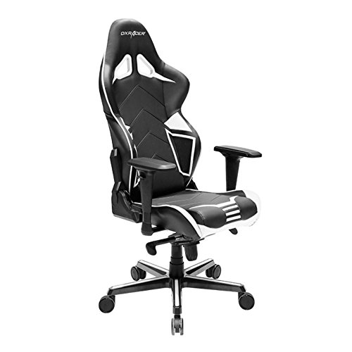 DXRacer Racing Series PU Leather OH RV131 NW Racing Seat Office Chair Gaming Ergonomic Adjustable Computer Chair with – Includes Head and Lumbar Support Pillows Black White