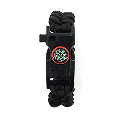 DEW Survival Kit Travel Outdoor Multifunctional Bracelet with Compass Whistle Buckle Survival Bracelet with Fire Starter Scraper