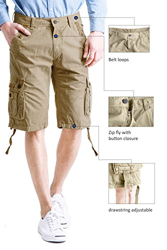 Cyparissus Mens Cargo Shorts Multi Pockets Short for Men (36,Khaki) by Cyparissus (Image #1)
