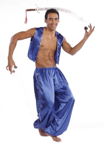 Belly Dance Men's Satin Vest & Pants w/ Sequiens Costume Set | ROYAL BLUE ()