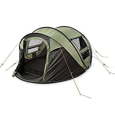 FiveJoy Instant 4-Person Pop Up Tent - Set Up in Lightning Speed, Easy Fold Up into Portable Carrying Case Including Stakes - Ideal Automatic Shelter for Family Camping, Hiking, Outdoor, Festivals