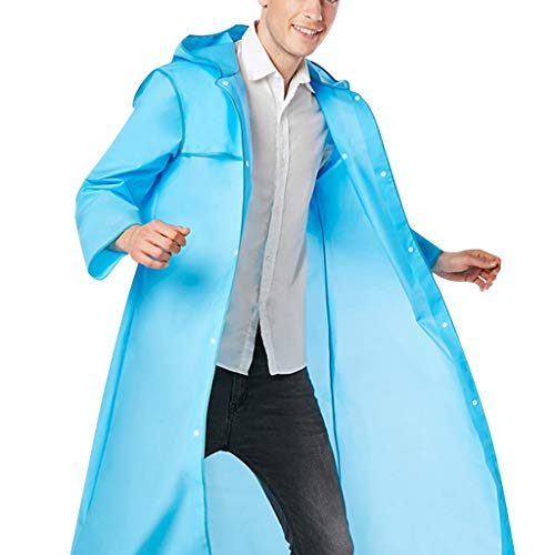 Promotional Rain Ponchos - Beautyfine Portable EVA Raincoats for Adults The Same Type of Hiking Raincoats Fashion Edge-Wrapped Reusable Rain Ponchos Blue