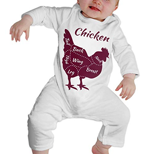 LBJQ8 Boneless Chicken Breast Infant Girls Boys Long Sleeve Romper Jumpsuit Outfits Clothes White