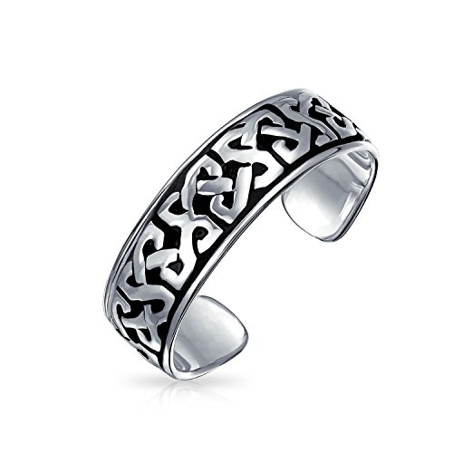Celtic Trinity Knot Work Oxidized Midi Band Toe Ring For Women 925 Silver Sterling Adjustable ()