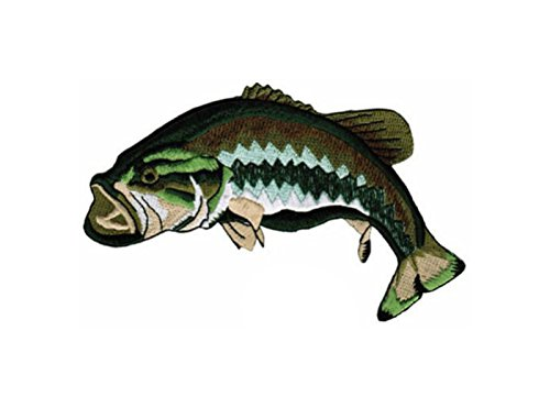 Super Patch LARGE MOUTH BASS PATCH embroidered iron-on FISHING FISH largemouth NOVELTY GIFT by I.E.Y. online store for $<!--$7.97-->