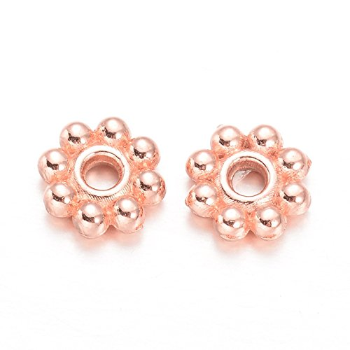Beads Direct USA Spacer Beads Daisy Flower Spacers 5mm x 2mm 300 Pcs (Rose Gold) ()