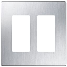 Lutron CW-2-SS 2-Gang Claro Wall Plate, Stainless Steel