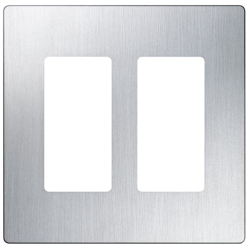 Gang Steel Stainless Plate (Lutron Claro 2 Gang Decorator Wallplate, CW-2-SS, Stainless Steel)