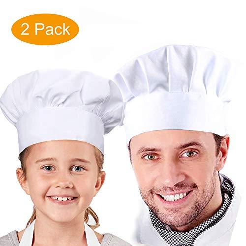 Chef Hat, Set of 2 Adult Adjustable Elastic Baker Hats, White Kitchen Catering Butcher Hat, Mushroom Design Chef Cap, Unisex Cooking Hat for Women, Man, Kids