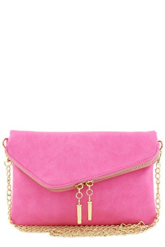 Envelope Wristlet Clutch Crossbody Bag with Chain Strap - Cross Pink Body
