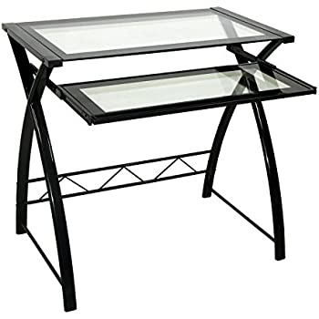 Bell'O CD8855 Computer Desk with Keyboard Tray, Black/Clear
