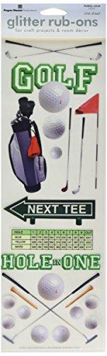 Paper House Productions RUBGL-0034E Single Sheet Borderless Glitter Rub-Ons, Golf